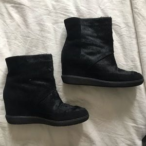 Vince Holly Pony Hair Wedge Bootie